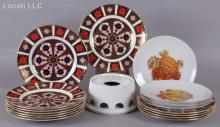 A Set of Royal Crown Derby Plates and Other Items