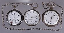 Three Silver Pocket Watches Including a Fusee Example