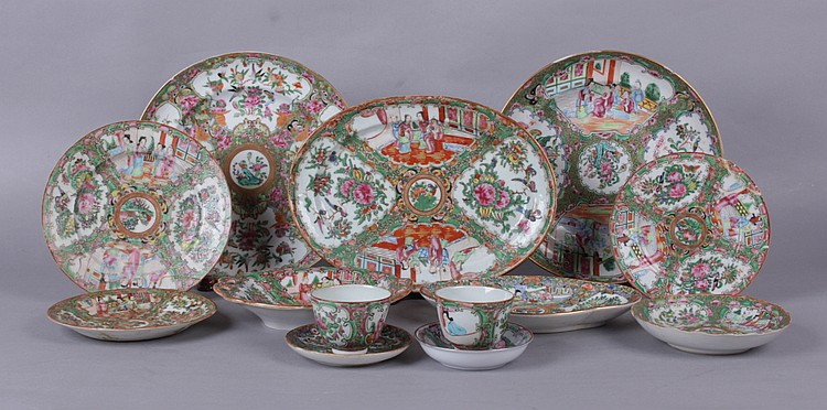 A Group of Chinese Rose Medallion Porcelain