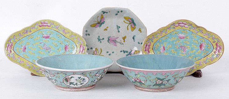Five Pieces of Chinese Porcelain, 19th Century