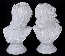 A Pair of 19th Century Porcelain Busts by KPM