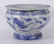 A Large Japanese Blue and White Porcelain Jardiniere