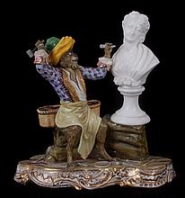 An Unusual Porcelain Figural Group, Monkey Sculptor