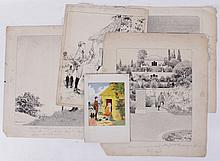 Harry L. Miller (American, Early 20th Century) Four Pen and Ink Illustrations