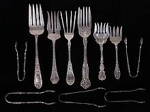 Estate Lot: Sterling Silver Serving Forks and Sugar Tongs