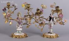 A Pair of Dresden Ormolu and Porcelain Candelabra