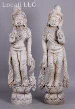 A Pair of Large Chinese Marble Guanyin Figures