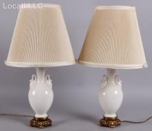 A Pair Porcelain Lamps Attributed to Lenox