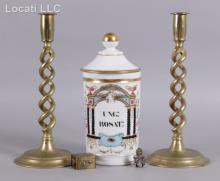 Estate Lot: French Apothecary Jar, Barley Twist Candlesticks, Etc...