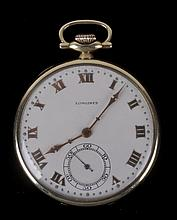 A Longines Open Face 14k Gold Pocket Watch