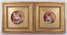 Two Porcelain Plaques, Floral Still Lifes in Gilt Frames