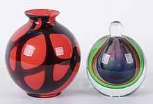 Two Pieces of Art Glass Including A Four Color Scent Bottle