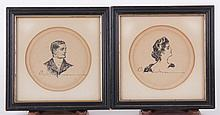 Charles Dana Gibson (1867 - 1944) Two Portraits, Pen and Ink