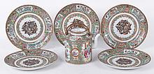 A Group of Chinese Export Porcelain, Teapot and Plates