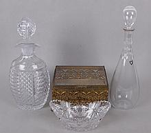 Four Pieces of Cut Glass, Including Decanters, Orrefors