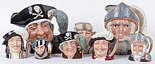 A Large Group of Doulton Toby Mugs