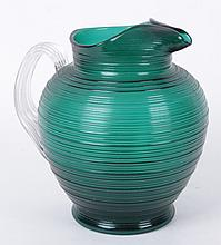 A 19th Century Emerald Colored Glass Water Pitcher