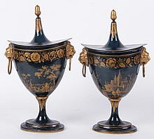 A Pair of French Tole Urns
