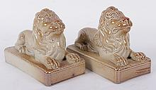 A Pair of English Salt Glaze Lion Figures c. 1820