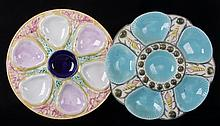 Two Majolica Oyster Plates, 19th Century