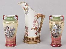A Royal Worcester Porcelain Pitcher and A Pair of Urns