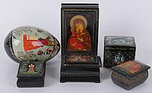 A Group of Russian Lacquer Boxes