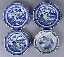 Four Pieces of Chinese Blue and White Export, Canton