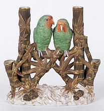 A Royal Worcester Bud Vase, Parakeet Decoration