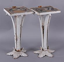 Two Small Stands, Wrought Iron and Italian Majolica