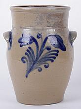 An American Stoneware Blue Decorated Crock