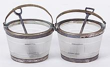 A Pair of Glass and Silver Plated Master Salts