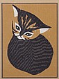 Kaoru Kawano (Japanese 1916-1965) Woodblock Print, Cat