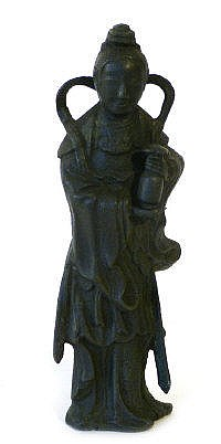 A Chinese Ming bronze model of Kwan-Yin modelled