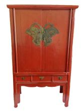 Chinese Red Lacquer Hat Storage Cabinet or Hall Chest