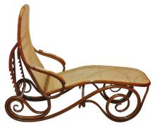 Austrian Bentwood and Caned Chaise Longue