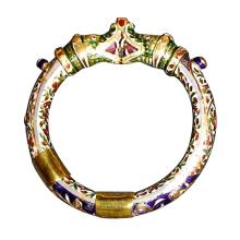 22K Gold and Enamel Hinged Dragon Bangle