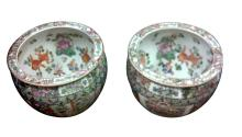 Pair of Chinese Export Famille Rose Porcelain Jardineres