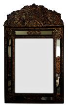 Continental Gilt Brass and Ebonized Wood Mirror
