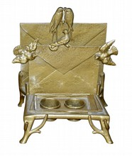 American Victorian Gilt Metal Letter Stand and Inkwell
