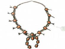 Native American Navajo Coral Squash Blossom Necklace