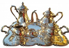 Peruvian Silver Tea and Coffee Service with Tray