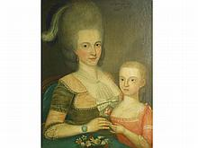 American Folk Art Portrait of Mother and Child, Possibly Ralph Earl