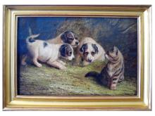 John Fitz Marshall R.B.A. (English, 1859 - 1932), Terrier Puppies with a Kitten, oil on canvas, signed, circa 1900