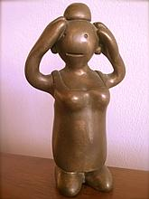 Tom Otterness (American, b. 1952), Bronze Female Figure with Arms Raised, 1994
