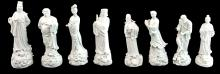 Set of Eight Chinese Blanc de Chine Porcelain Immortals