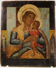 A 19th century Icon. Possibly Russian. Decorated with The Maddona and Child flanked by Saints