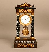A Rosewood and Satinwood Inlaid Portico Timepiece.