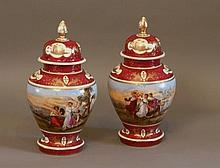 A Pair of Named View Vienna Vases and Covers. 19th