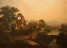 A Sonerie Clock Painting. Continental (possibly