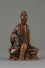 A Chinese Soapstone Figure of a Deity. Shown